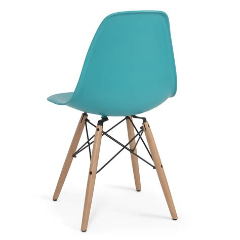 set of 4 dsw dowel eames molded abs chair wooden