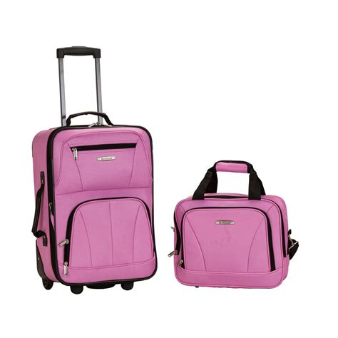 light pink suitcase rockland polyester luggage set 2 f102 pink the