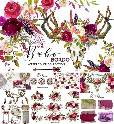 boho marsala watercolor flowers