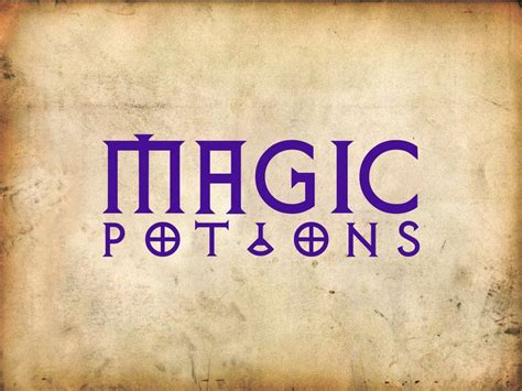 magic potions sign  purple typography letters logos