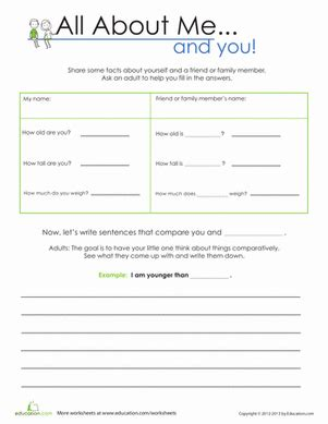 all about me and you worksheet education com