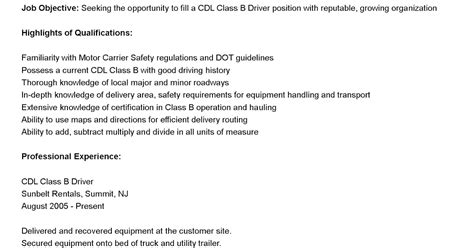 driver resumes cdl class b driver resume sle