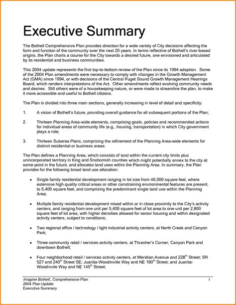 Executive Summary Template 9 Executive Summary Sle Financial Statement Form