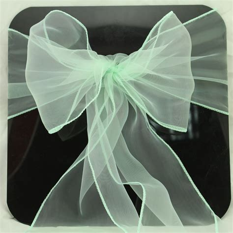 new brand 50 pcs mint wedding organza chair cover sashes