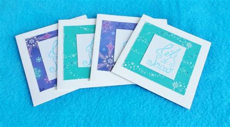 handmade winter note cards set   hand stamped blank