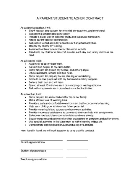 education world parentstudentteacher contract template