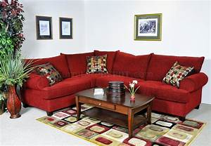 Red fabric contemporary sectional sofa w rolled arms for Modern red fabric sectional sofa