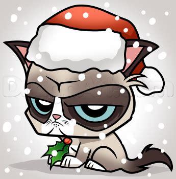 draw christmas grumpy cat step  step christmas