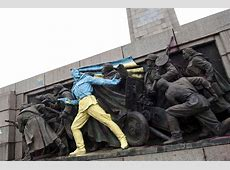 Soviet Army Monument in Sofia Painted in Ukraine Colors