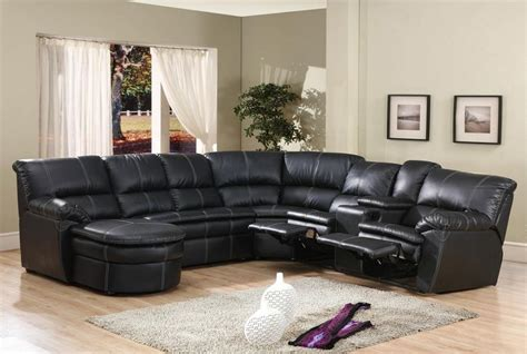 pc black bonded leather sectional sofa  recliners