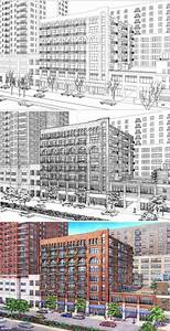 Loft Building  Drawing Process  Wireframe  Inked Drawing