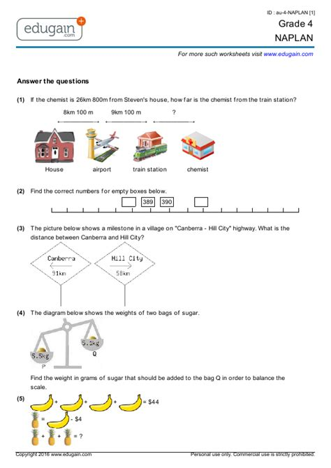 year  naplan printable worksheets  practice