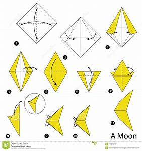 Step By Step Instructions How To Make Origami A Moon Stock