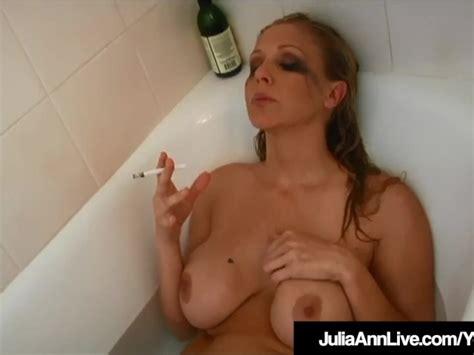 Hot Busty Milf Julia Ann Smokes Cigs Nude In Bathtub