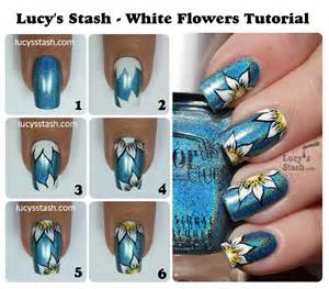 Nail art steps with pictures : Diy white flower nail art manicure step by tutorial instructions