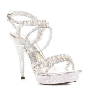 silver shoes for wedding womens silver diamante wedding pearl high heel platform shoes size 3 8 ebay