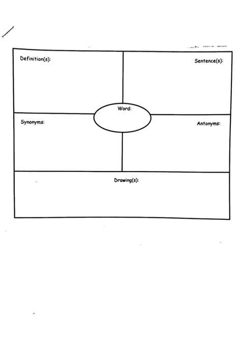 vocabulary template vocabulary card template