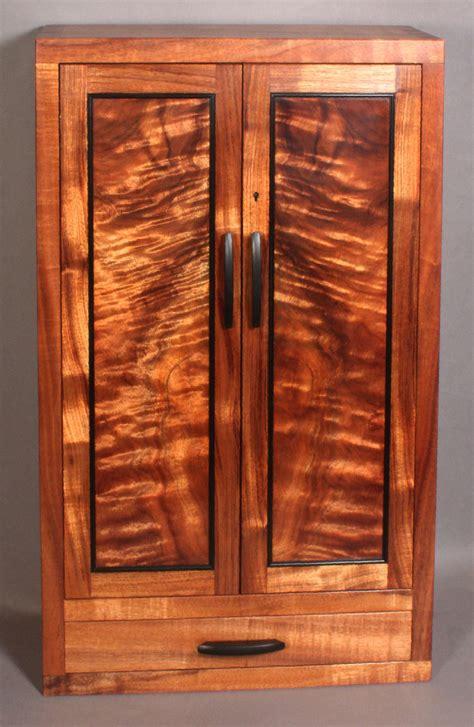 Wall Hung Cabinets - custom wall mounted koa jewelry cabinet