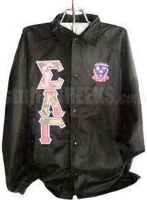 Sigma lambda gamma camo greek letter line jacket with for Greek letter windbreaker