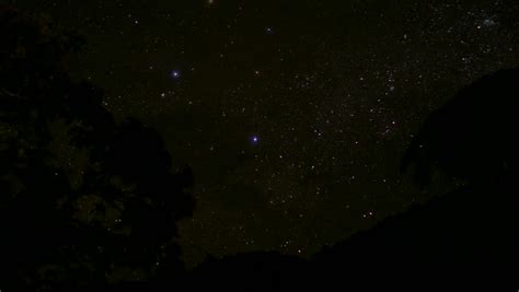 4k Uhd Stars Night Sky Time Lapse Looking Over Trees