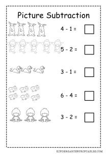 basic picture subtraction worksheet  printable