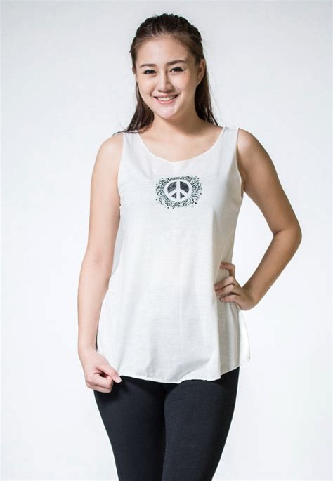 Loose Soft Vintage Style Women's Tank Tops Peace Sign ...