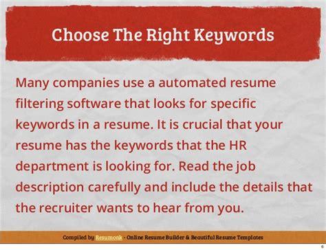 keywords cv writing