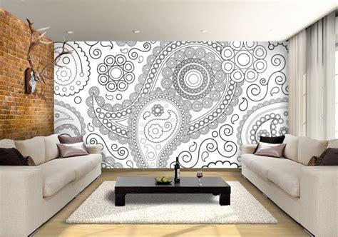 paisley black white custom wallpaper mural print  jw