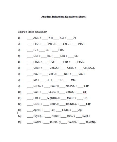 10+ Balancing Equations Worksheet Templates  Sample Templates