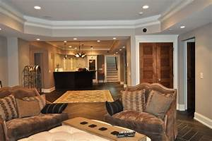 Basement Living Area With Workout Room