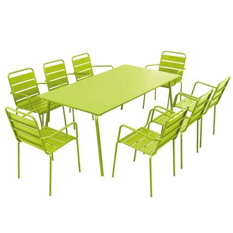 Table Et Chaises De Terrasse En Acier 8 Places Mobeventpro