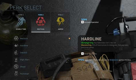 warzone perks duty call list level downsights