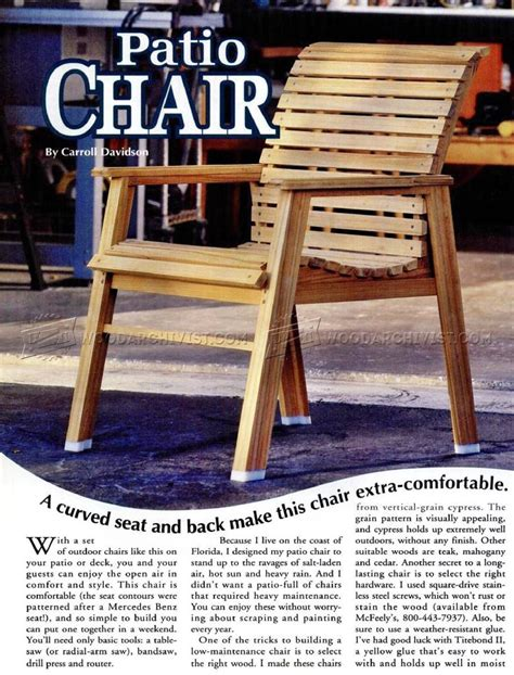 patio chair plans woodarchivist