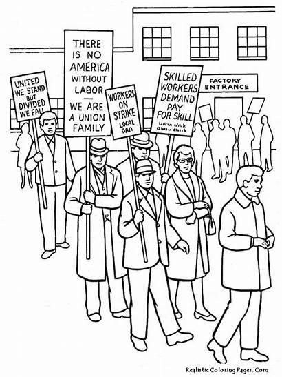 Coloring Labor Rights Human Sheets Strike History
