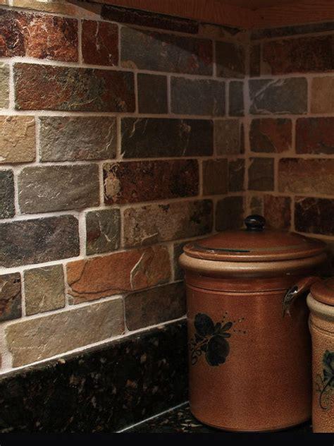 rusty brown slate mosaic backsplash tile  traditional