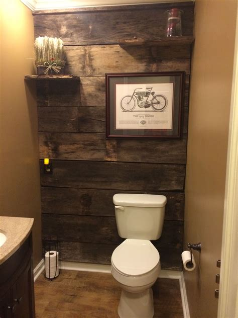 powder room renovation  barn wood diy