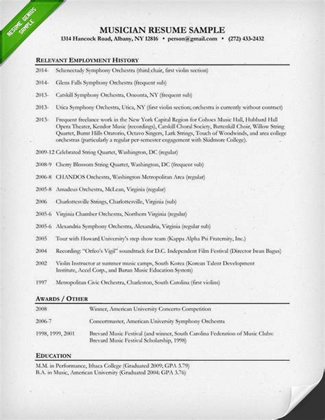 Musicians Resume Template by Resume Sle Resume Genius