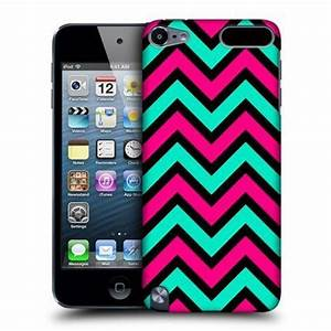 Pink & Teal In Black Neon Chevron Case For Apple iPod