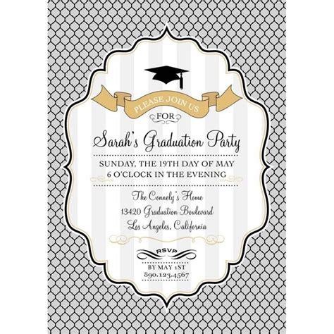 Modern Graduation Printable Invitation Gold Silver