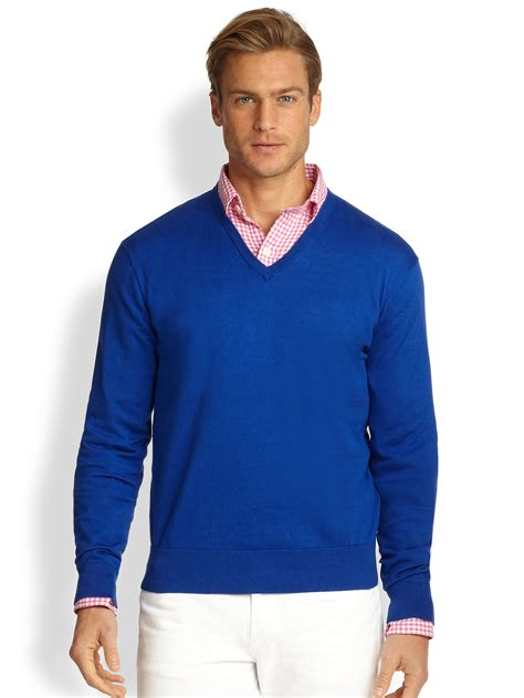 blue sweater polo ralph cotton v neck sweater in blue for lyst