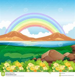A View Of The Rainbow And The Beautiful Nature Stock ...