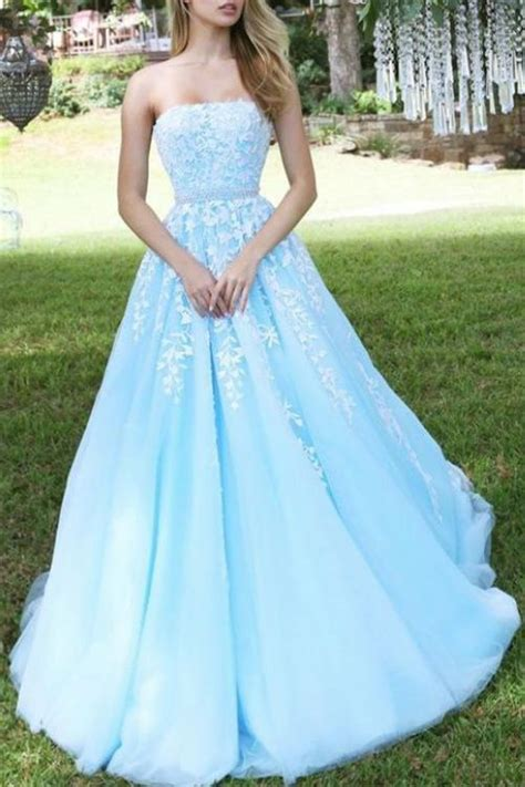princess sky blue strapless   tulle prom dress