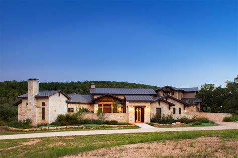 hill country custom home rustic exterior by