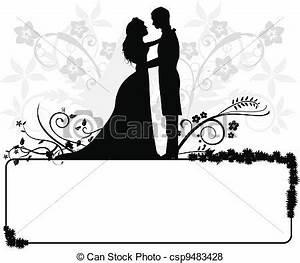 Dessin Couple Mariage Noir Et Blanc : vecteur de couple silhouettes mariage mariage couple ~ Melissatoandfro.com Idées de Décoration
