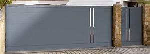 portail coulissant avec portillon integre dootdadoocom With porte d entrée alu avec tapis salle de bain motif galets
