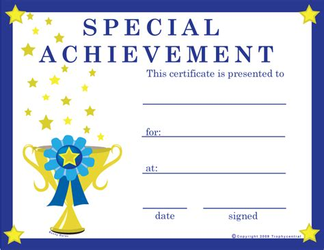 special achievement certificates certificate