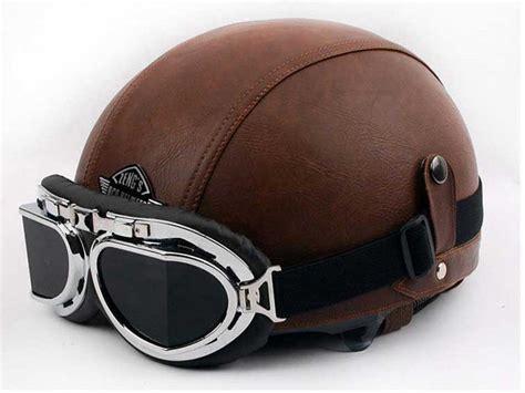 Vintage Motorcycle Cruiser Open Face Leather Half Helmet