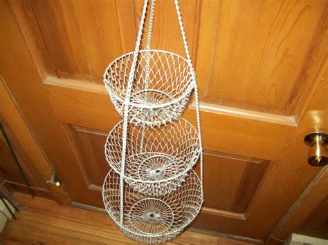 3 tier wire hanging mesh baskets fruit by outoftheblueantiques
