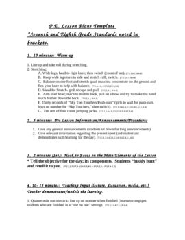high performance pe lesson plan template