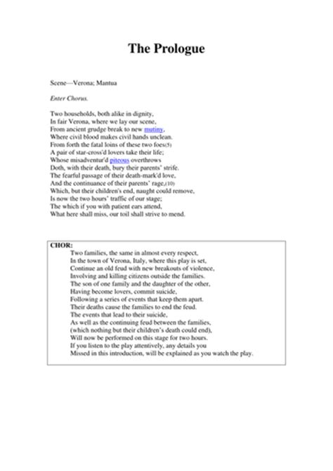 romeo juliet the prologue and translation by sc87 teaching resources tes